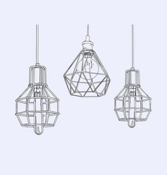 collection of vintage symbols light bulbs and vector image