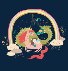 cute cartoon dragon unicorn and little princess vector image vector image