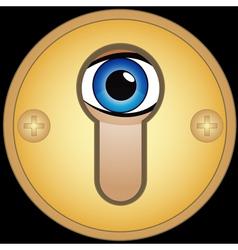 Eye in golden keyhole vector image vector image