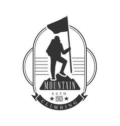 mountain climbing logo mountain tourism vector image vector image