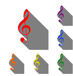 music violin clef sign g-clef treble clef set vector image vector image