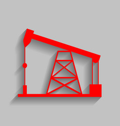 oil drilling rig sign red icon with soft vector image vector image