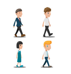 people cartoon walk collection set vector image vector image