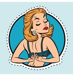 Pin-up girl wears a bra vector image