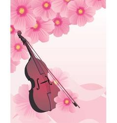 pink flowers violin vector vector image