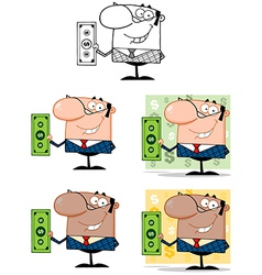 Business Manager Holding A Dollar Bill Collection vector image vector image