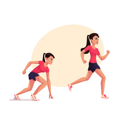 female runner sprinter jogger ready to start vector image