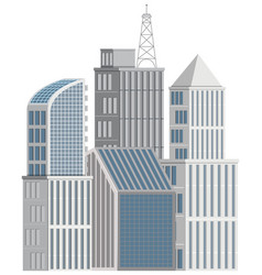 Many tall buildings on white background vector
