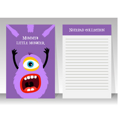 notebook template with cartoon fluffy monster vector image
