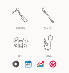 Scalpel pills and drilling tool icons vector