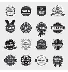 set of black and white retro labels vector image