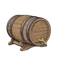 Side view of wooden barrel with tap resting on vector