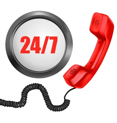 Telephone and 247 button 24 hours in day 7 days in vector