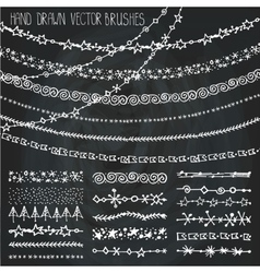 Winter garland brushes setChristmas doodles vector image vector image