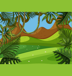 background scene with green field and mountain vector image