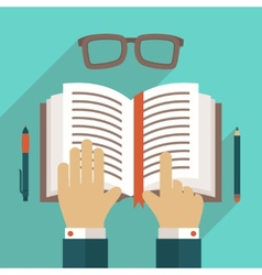 Book icon with hand vector
