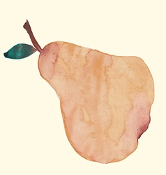 Hand watercolor of a pear fruit vector image