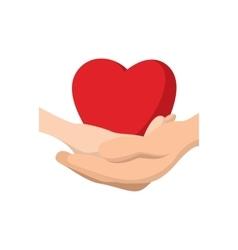 Heart in hands cartoon icon vector image