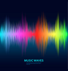 music waves background rainbow sound music vector image