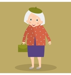 Old woman walking with bag Grandmother vector image vector image
