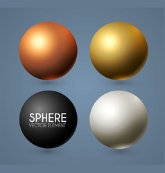 3d spheres set realistic balls with reflection vector image