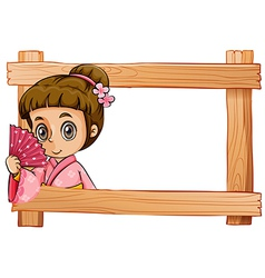 A wooden frame with a girl vector image