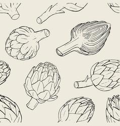 Artichoke seamless pattern with hand drawn cutaway vector
