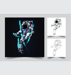Astronaut skateboard artwork vector