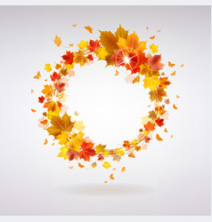 Autumn wreath maple leaves vector