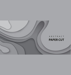 background with gray color paper cut shapes 3d vector image