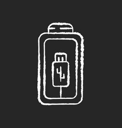 battery charging using cable chalk white icon vector image