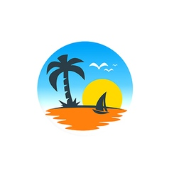 Beach sailing boat sunset logo vector