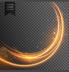Beautiful golden light effect in wave style vector