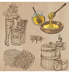 Bees beekeeping and honey - hand drawn pack 5 vector