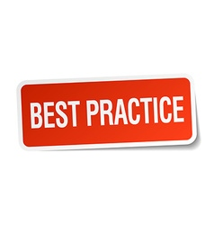 Best practice red square sticker isolated on white vector