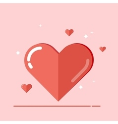 Big heart Flat isolated on pink vector
