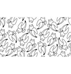 black and white seamless pattern with cats and vector image