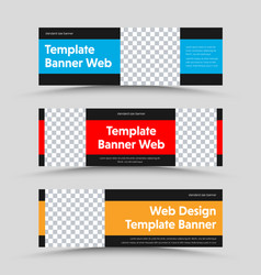 black horizontal web banners design with color vector image