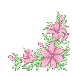 Branch with flowers Drawn in graphical retro style vector