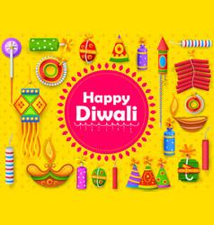 burning diya and firecracker on happy diwali vector image
