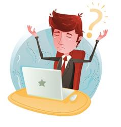 Businessman No Idea On Computer vector image