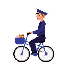 Cartoon postman mailman character bicycle vector