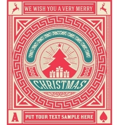Christmas Greeting Card vintage ornament vector image