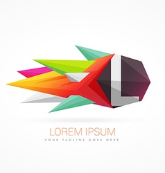 colorful abstract logo with letter L vector image