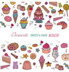 Colorful Card or Brochure with Cakes Sweets vector