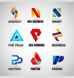 colorful logo set collection template sign symbol vector image