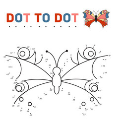 Connect the dots and paint a butterfly on a sample vector