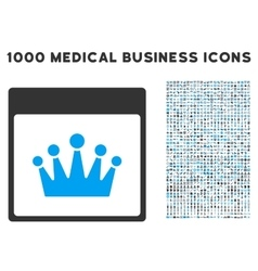 Crown Calendar Page Icon With 1000 Medical vector image vector image