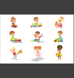 cute children playing with different toys vector image