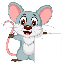 cute mouse cartoon posing with blank sign vector image